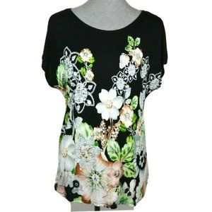Philosophy Black Cap Sleeve Floral Printed Tee